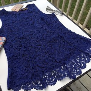 Tops - BRILLIANT BLUE LACE TOP